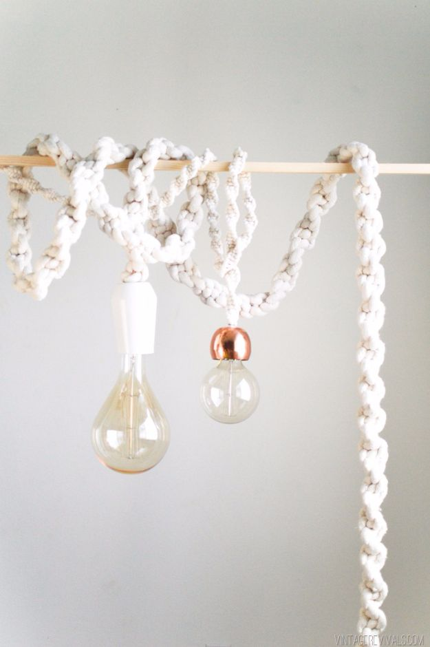 DIY Lighting Ideas and Cool DIY Light Projects for the Home - Giant Macrame Rope Lights - Easy DIY Ideas for Chandeliers, lights, lamps, awesome pendants and creative hanging fixtures, complete with tutorials with instructions. Cheap do it yourself lighting tutorials for indoor - bedroom, living room, bathroom, kitchen DIY Projects and Crafts for Women and Men http://diyjoy.com/diy-indoor-lighting-ideas