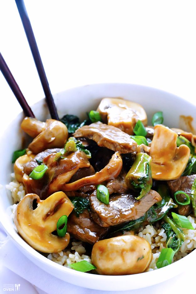 Easy Dinner Ideas for Two - Ginger, Beef, Mushroom and Kale Stir Fry - Quick, Fast and Simple Recipes to Make for Two People - Freeze and Make Ahead Dinner Recipe Tips for Best Weeknight Dinners - Chicken, Fish, Vegetable, No Bake and Vegetarian Options - Crockpot, Microwave, Healthy, Lowfat Options http://diyjoy.com/easy-dinners-for-two