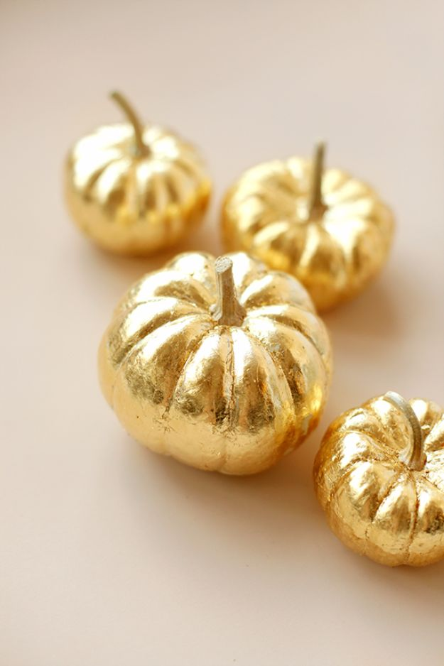 Best Crafts for Fall Decorating - Gold Leaf Pumpkin - DIY Home Decor, Mason Jar Ideas, Dollar Store Crafts, Rustic Pumpkin Ideas, Wreaths, Candles and Wall Art, Centerpieces, Wedding Decorations, Homemade Gifts, Craft Projects with Leaves, Flowers and Burlap, Painted Art, Candles and Luminaries for Cool Home Decor - Quick and Easy Projects With Step by Step Tutorials and Instructions http://diyjoy.com/best-fall-decorating-ideas