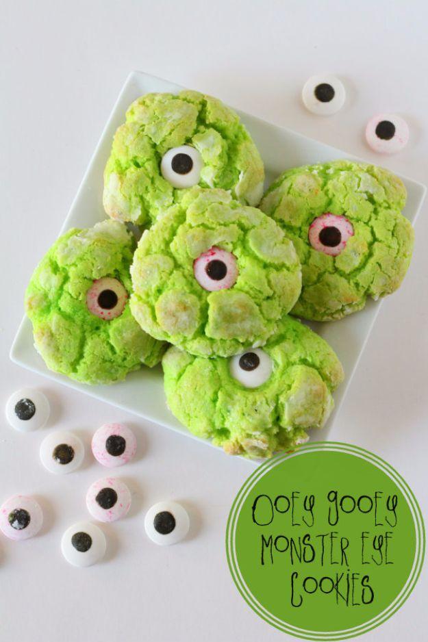 Cute Halloween Cookies - Gooey Monster Eye Cookies - Easy Recipes and Cookie Tutorials for Making Quick Halloween Treats - Spooky DIY Decorated Ghosts, Pumpkins, Bats, No Bake, Spiders and Spiderwebs, Tombstones and Healthy Options, Kids and Teens Cookies for School http://diyjoy.com/halloween-cookies-ideas
