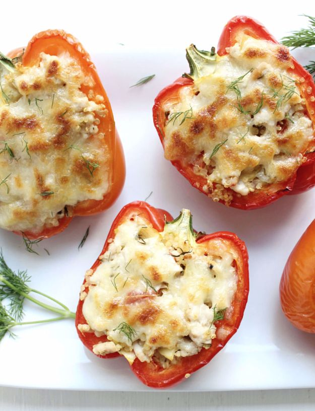 Easy Dinner Ideas for Two - Greek Style Stuffed Peppers - Quick, Fast and Simple Recipes to Make for Two People - Freeze and Make Ahead Dinner Recipe Tips for Best Weeknight Dinners - Chicken, Fish, Vegetable, No Bake and Vegetarian Options - Crockpot, Microwave, Healthy, Lowfat
