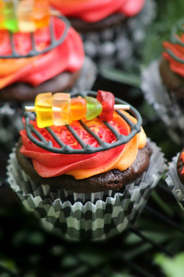 Cool Cupcake Decorating Ideas - Grill Cupcakes - Easy Ways To Decorate Cute, Adorable Cupcakes - Quick Recipes and Simple Decorating Tips With Icing, Candy, Chocolate, Buttercream Frosting and Fruit kids birthday party ideas cake