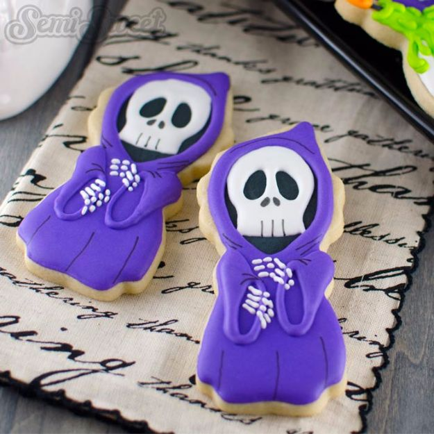 Cute Halloween Cookies - Halloween Grim Reaper Cookies - Easy Recipes and Cookie Tutorials for Making Quick Halloween Treats - Spooky DIY Decorated Ghosts, Pumpkins, Bats, No Bake, Spiders and Spiderwebs, Tombstones and Healthy Options, Kids and Teens Cookies for School #halloween #halloweencookies