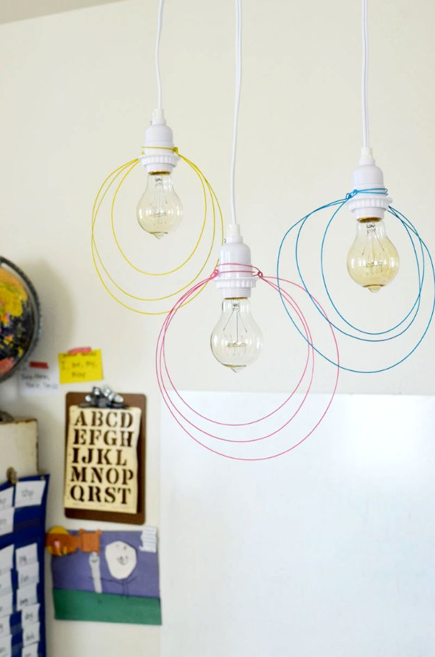 DIY Lighting Ideas and Cool DIY Light Projects for the Home - Halo Light Pendant DIY - Easy DIY Ideas for Chandeliers, lights, lamps, awesome pendants and creative hanging fixtures, complete with tutorials with instructions. Cheap do it yourself lighting tutorials for indoor - bedroom, living room, bathroom, kitchen DIY Projects and Crafts for Women and Men