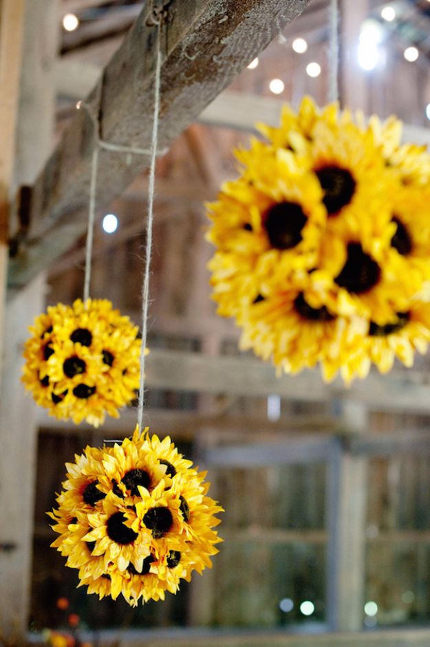 Best Crafts for Fall Decorating - Hang Sunflowers Around The House - DIY Home Decor, Mason Jar Ideas, Dollar Store Crafts, Rustic Pumpkin Ideas, Wreaths, Candles and Wall Art, Centerpieces, Wedding Decorations, Homemade Gifts, Craft Projects with Leaves, Flowers and Burlap, Painted Art, Candles and Luminaries for Cool Home Decor - Quick and Easy Projects With Step by Step Tutorials and Instructions