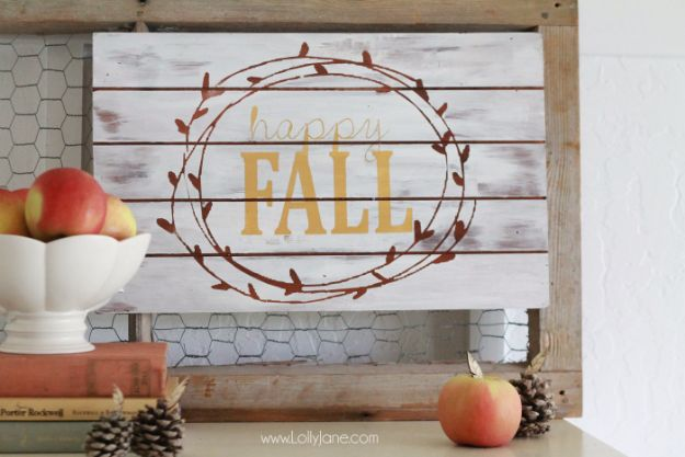 Best Crafts for Fall Decorating - Happy Fall Sign - DIY Home Decor, Mason Jar Ideas, Dollar Store Crafts, Rustic Pumpkin Ideas, Wreaths, Candles and Wall Art, Centerpieces, Wedding Decorations, Homemade Gifts, Craft Projects with Leaves, Flowers and Burlap, Painted Art, Candles and Luminaries for Cool Home Decor - Quick and Easy Projects With Step by Step Tutorials and Instructions http://diyjoy.com/best-fall-decorating-ideas