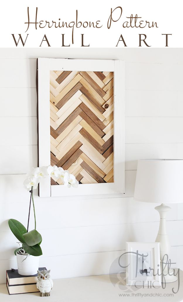 Rustic Wall Art Ideas - Herringbone Pattern Wall Art - DIY Farmhouse Wall Art and Vintage Decor for Walls - Country Crafts and Rustic Home Decor Made Easy With Instructions and Tutorials - String Art, Repurposed Pallet Projects, Mason Jar Crafts, Vintage Signs, Word Art and Letters, Monograms and Sewing Projects