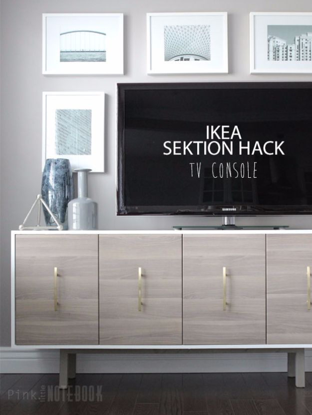DIY Media Consoles and TV Stands - IKEA Hack TV Console - Make a Do It Yourself Entertainment Center With These Easy Step By Step Tutorials - Easy Farmhouse Decor Media Stand for Television - Free Plans and Instructions for Building and Painting Your Own DIY Furniture - IKEA Hacks for TV Stand Idea - Quick and Easy Ways to Decorate Your Home On A Budget http://diyjoy.com/diy-tv-media-consoles