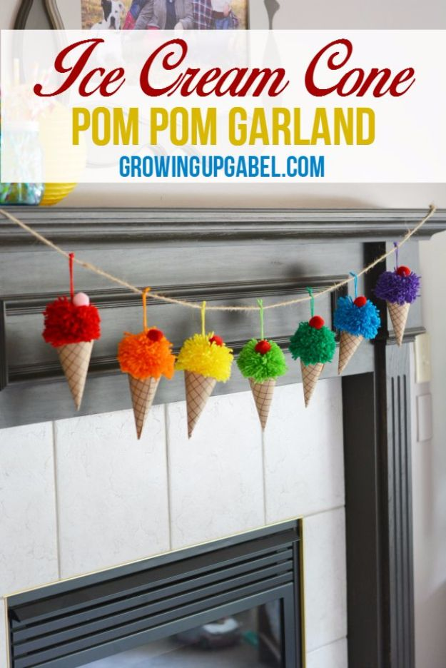 DIY Ideas With Yarn and Best Yarn Crafts - Ice Cream Cone Garland - Wall Hangings, Easy Dream Catchers, Crochet Ideas for Teens, Adults and Kids - Knitting , No Sew and Weaving Projects Make Awesome Wall Art and Home Decor on A Budget http://diyjoy.com/diy-ideas-yarn