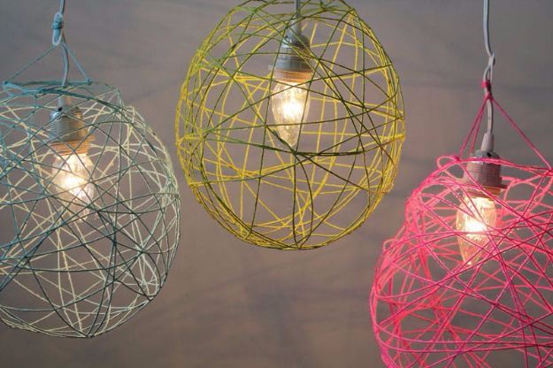 DIY Ideas With Yarn and Best Yarn Crafts - Illuminated Yarn Lanterns - Wall Hangings, Easy Dream Catchers, Crochet Ideas for Teens, Adults and Kids - Knitting , No Sew and Weaving Projects Make Awesome Wall Art and Home Decor on A Budget http://diyjoy.com/diy-ideas-yarn