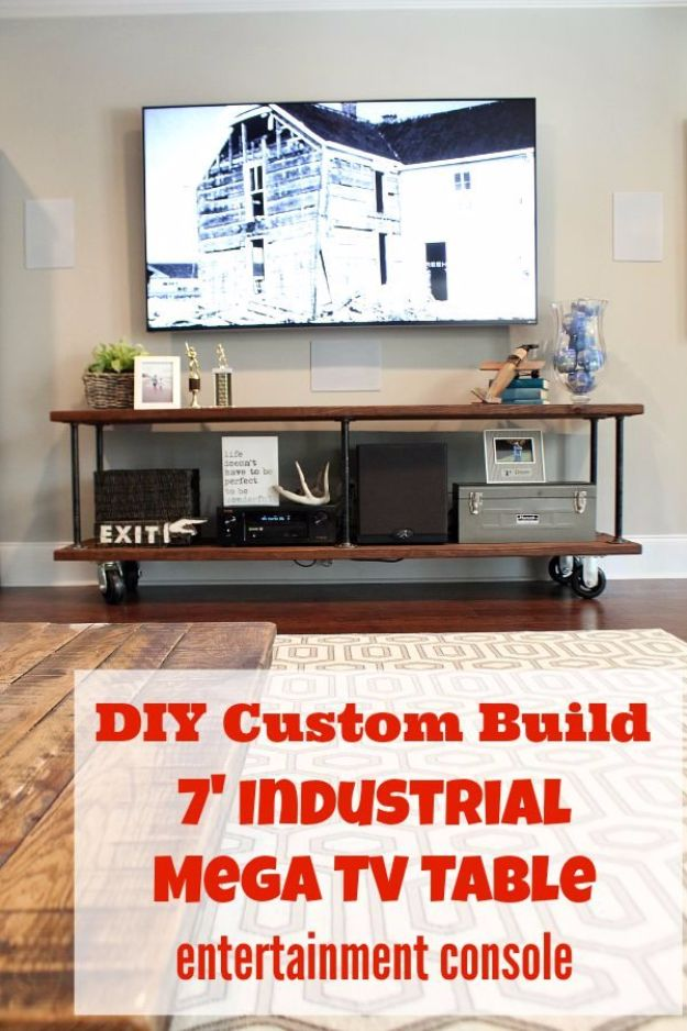 DIY Media Consoles and TV Stands - Industrial Entertainment Console - Make a Do It Yourself Entertainment Center With These Easy Step By Step Tutorials - Easy Farmhouse Decor Media Stand for Television - Free Plans and Instructions for Building and Painting Your Own DIY Furniture - IKEA Hacks for TV Stand Idea - Quick and Easy Ways to Decorate Your Home On A Budget http://diyjoy.com/diy-tv-media-consoles