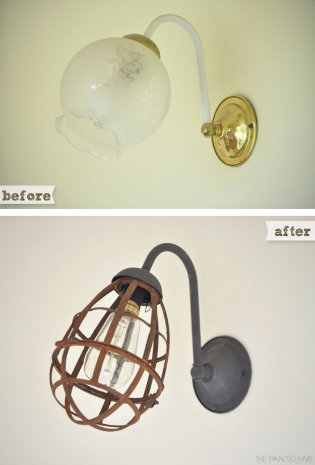 DIY Lighting Ideas and Cool DIY Light Projects for the Home - Industrial Sconce Light Makeover - Easy DIY Ideas for Chandeliers, lights, lamps, awesome pendants and creative hanging fixtures, complete with tutorials with instructions. Cheap do it yourself lighting tutorials for indoor - bedroom, living room, bathroom, kitchen DIY Projects and Crafts for Women and Men http://diyjoy.com/diy-indoor-lighting-ideas