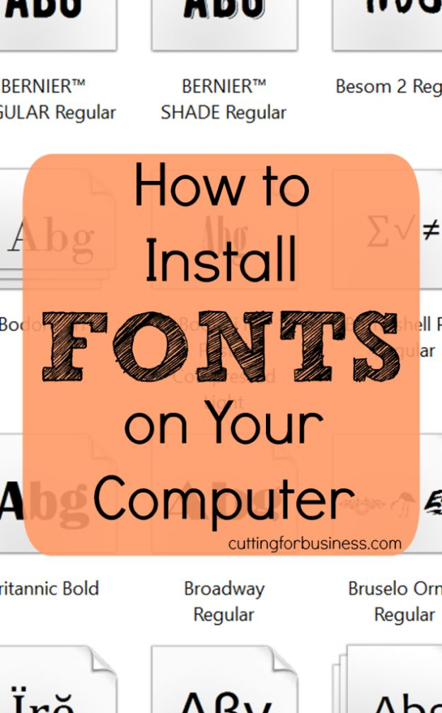 DIY Ideas for Your Computer - Install Fonts On Your Computer - Cool Desk, Home Office, Bulletin Boards and Tech Projects for Kids, Awesome Tips and Tricks for Your Laptop and Desktop, Best Shortcuts and Neat Ways To Make Your Computer Even Better With Productivity Tips http://diyjoy.com/diy-ideas-computer