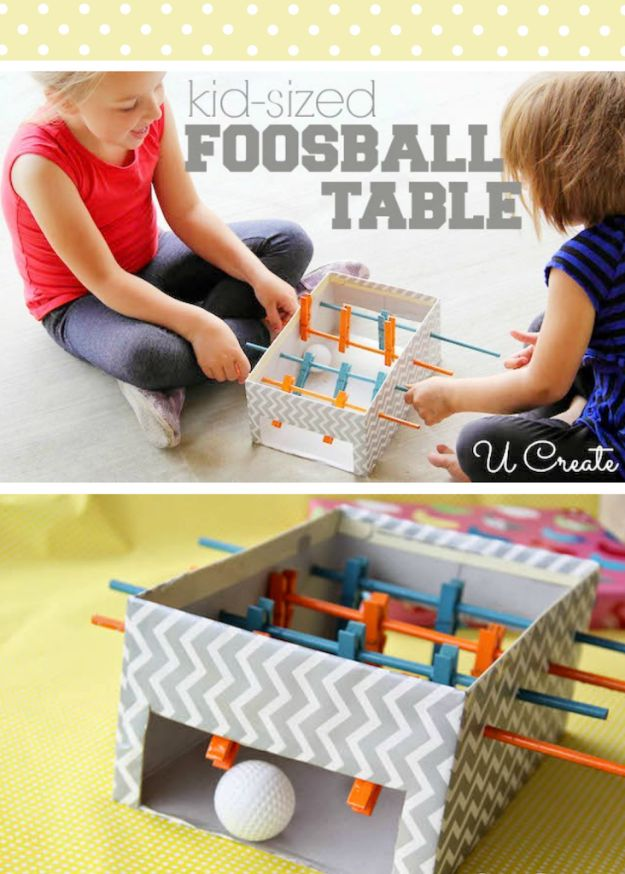 DIY Ideas With Shoe Boxes - Kid Sized Foosball Table - Shoe Box Crafts and Organizers for Storage - How To Make A Shelf, Makeup Organizer, Kids Room Decoration, Storage Ideas Projects - Cheap Home Decor DIY Ideas for Kids, Adults and Teens Rooms http://diyjoy.com/diy-ideas-shoe-boxes