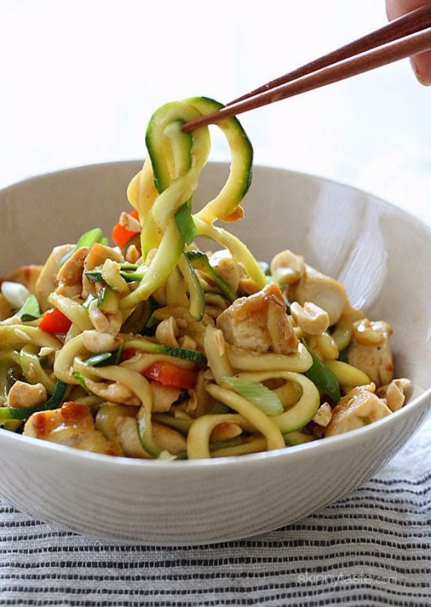 Easy Dinner Ideas for Two - Kung Pao Chicken Zoodles For Two - Quick, Fast and Simple Recipes to Make for Two People - Freeze and Make Ahead Dinner Recipe Tips for Best Weeknight Dinners - Chicken, Fish, Vegetable, No Bake and Vegetarian Options - Crockpot, Microwave, Healthy, Lowfat Options http://diyjoy.com/easy-dinners-for-two