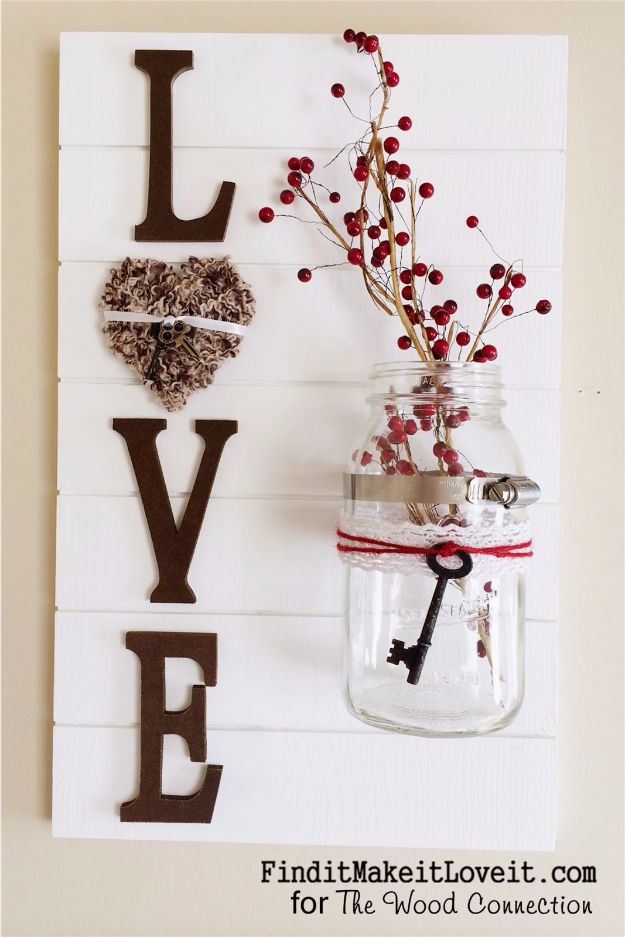 Rustic Wall Art Ideas - LOVE Slat Sign - DIY Farmhouse Wall Art and Vintage Decor for Walls - Country Crafts and Rustic Home Decor Made Easy With Instructions and Tutorials - String Art, Repurposed Pallet Projects, Mason Jar Crafts, Vintage Signs, Word Art and Letters, Monograms and Sewing Projects