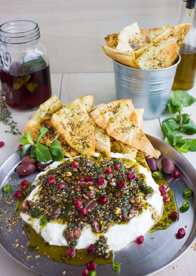 Labneh Dip ith Zaatar Pistachio Mint Olive Topping