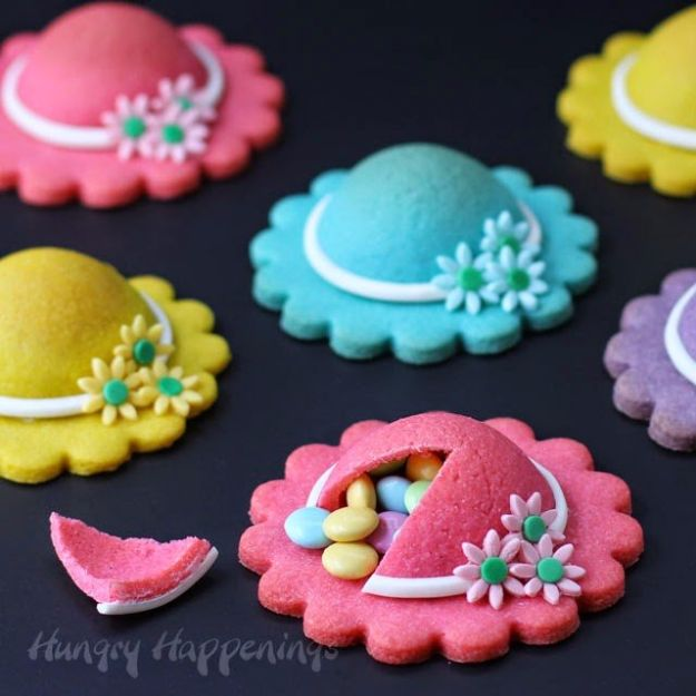 Cool Cookie Decorating Ideas - Ladies' Hat Piñata Cookies - Easy Ways To Decorate Cute, Adorable Cookies - Quick Recipes and Simple Decorating Tips With Icing, Candy, Chocolate, Buttercream Frosting and Fruit - Best Party Trays and Cookie Arrangements http://diyjoy.com/cookie-decorating-ideas