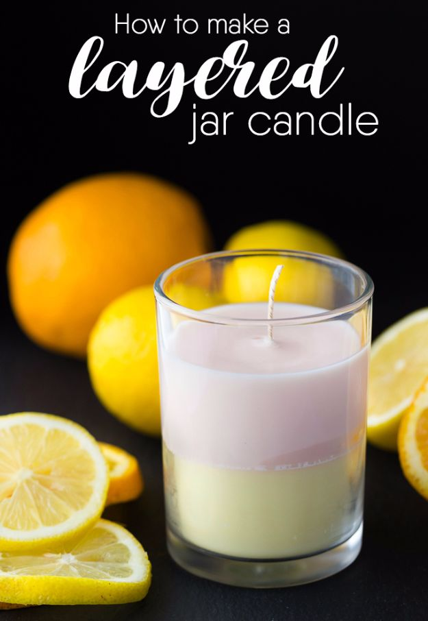 DIY Ideas for Candles - Layered Jar Candle - Cute, Cheap and Creative Ways to Decorate With Candles - Votives and Candle Holders Make Some Of Our Favorite Home Decor Ideas and Homemade Do It Yourself Gifts - Give One of These Inexpensive Ideas to Mom, Dad and Friends - Easy Dollar Store Crafts With Candle http://diyjoy.com/diy-ideas-candles