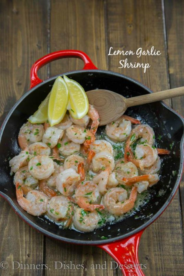 Easy Dinner Ideas for Two - Lemon Garlic Shrimp - Quick, Fast and Simple Recipes to Make for Two People - Freeze and Make Ahead Dinner Recipe Tips for Best Weeknight Dinners - Chicken, Fish, Vegetable, No Bake and Vegetarian Options - Crockpot, Microwave, Healthy, Lowfat Options http://diyjoy.com/easy-dinners-for-two