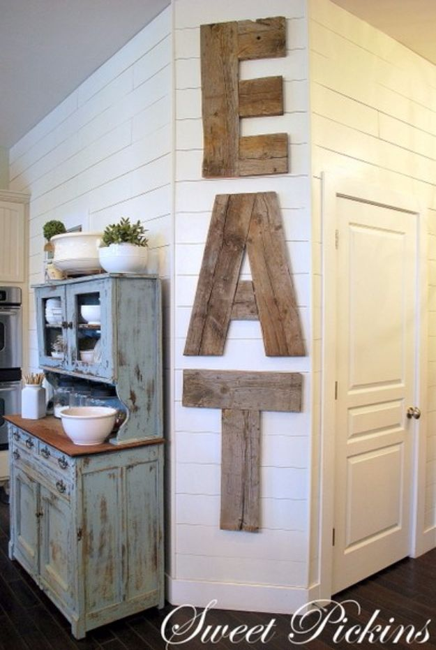 Rustic Wall Art Ideas - Letters From Reclaimed Lumber - DIY Farmhouse Wall Art and Vintage Decor for Walls - Country Crafts and Rustic Home Decor Made Easy With Instructions and Tutorials - String Art, Repurposed Pallet Projects, Mason Jar Crafts, Vintage Signs, Word Art and Letters, Monograms and Sewing Projects http://diyjoy.com/rustic-wall-art-ideas