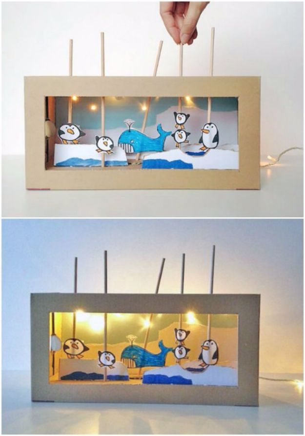 DIY Ideas With Shoe Boxes - Light Up Shoe Box Theater - Shoe Box Crafts and Organizers for Storage - How To Make A Shelf, Makeup Organizer, Kids Room Decoration, Storage Ideas Projects - Cheap Home Decor DIY Ideas for Kids, Adults and Teens Rooms #diyideas #upcycle