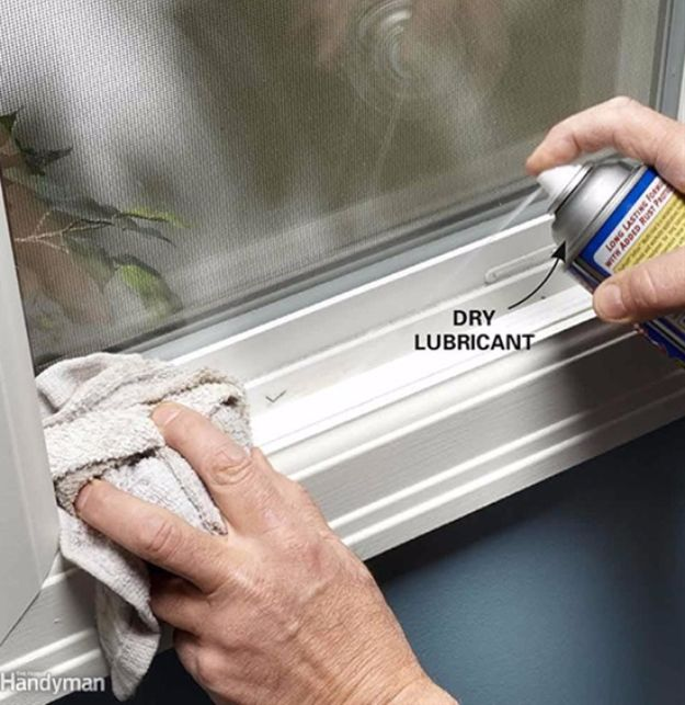 Easy Home Repair Hacks - Lube a Sticking Vinyl Window Or Door - Quick Ways to Easily Fix Broken Things Around The House - DIY Tricks for Home Improvement and Repairs - Simple Solutions for Kitchen, Bath, Garage and Yard - Caulk, Grout, Wall Repair and Wood Patching and Staining http://diyjoy.com/easy-home-repair-hacks