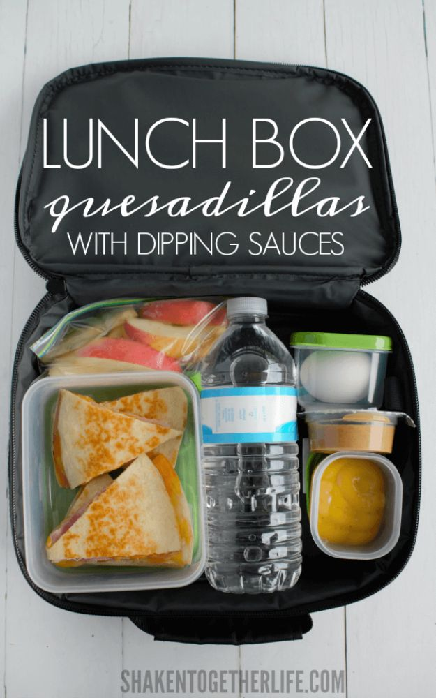 Back to School Lunch Ideas - Lunch Box Quesadillas With Dipping Sauces - Quick Snacks, Lunches and Homemade Lunchables - Bento Box Style Lunch for People in A Hurry - Fast Lunch Recipes to Pack Ahead - Healthy Ideas for Kids, Teens and Adults