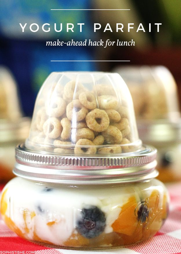 Back to School Lunch Ideas - Make Ahead Yogurt Parfait - Quick Snacks, Lunches and Homemade Lunchables - Bento Box Style Lunch for People in A Hurry - Fast Lunch Recipes to Pack Ahead - Healthy Ideas for Kids, Teens and Adults
