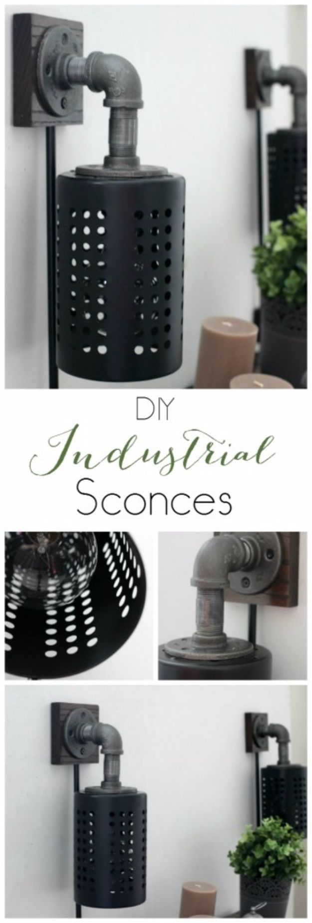 DIY Lighting Ideas and Cool DIY Light Projects for the Home - Make Your Own DIY Industrial Sconces - Easy DIY Ideas for Chandeliers, lights, lamps, awesome pendants and creative hanging fixtures, complete with tutorials with instructions. Cheap do it yourself lighting tutorials for indoor - bedroom, living room, bathroom, kitchen DIY Projects and Crafts for Women and Men http://diyjoy.com/diy-indoor-lighting-ideas