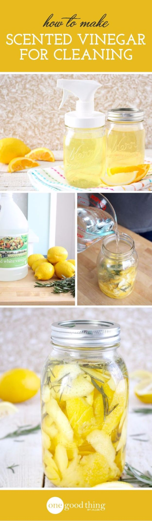 Cleaning Tips and Tricks - Make Your Own Scented Cleaning Vinegar - Best Cleaning Hacks, Recipes and Tutorials - Daily Ways to Clean For Kitchen, For Couches, Bathroom, Bedroom, Laundry, Floors, Furniture, Windows, Cleaners and More for Cleaning Your Home- Quick Ideas for Lazy People - Cool Cleaning Hack Tutorial - DIY Projects and Crafts by DIY JOY http://diyjoy.com/diy-cleaning-tips-tricks
