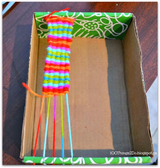 DIY Ideas With Shoe Boxes - Makeshift Looms - Shoe Box Crafts and Organizers for Storage - How To Make A Shelf, Makeup Organizer, Kids Room Decoration, Storage Ideas Projects - Cheap Home Decor DIY Ideas for Kids, Adults and Teens Rooms http://diyjoy.com/diy-ideas-shoe-boxes
