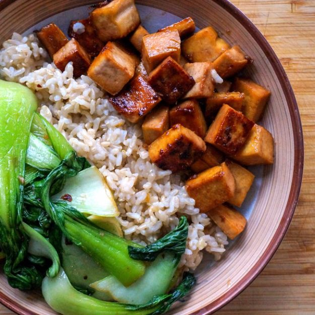 Easy Dinner Ideas for Two - Maple Glazed Tofu with Garlic Sautéed Bok Choy & Basmati Rice - Quick, Fast and Simple Recipes to Make for Two People - Freeze and Make Ahead Dinner Recipe Tips for Best Weeknight Dinners - Chicken, Fish, Vegetable, No Bake and Vegetarian Options - Crockpot, Microwave, Healthy, Lowfat Options http://diyjoy.com/easy-dinners-for-two