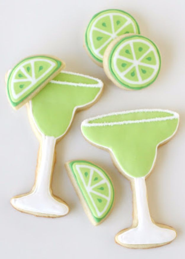 Cool Cookie Decorating Ideas - Margarita Cookies - Easy Ways To Decorate Cute, Adorable Cookies - Quick Recipes and Simple Decorating Tips With Icing, Candy, Chocolate, Buttercream Frosting and Fruit - Best Party Trays and Cookie Arrangements http://diyjoy.com/cookie-decorating-ideas