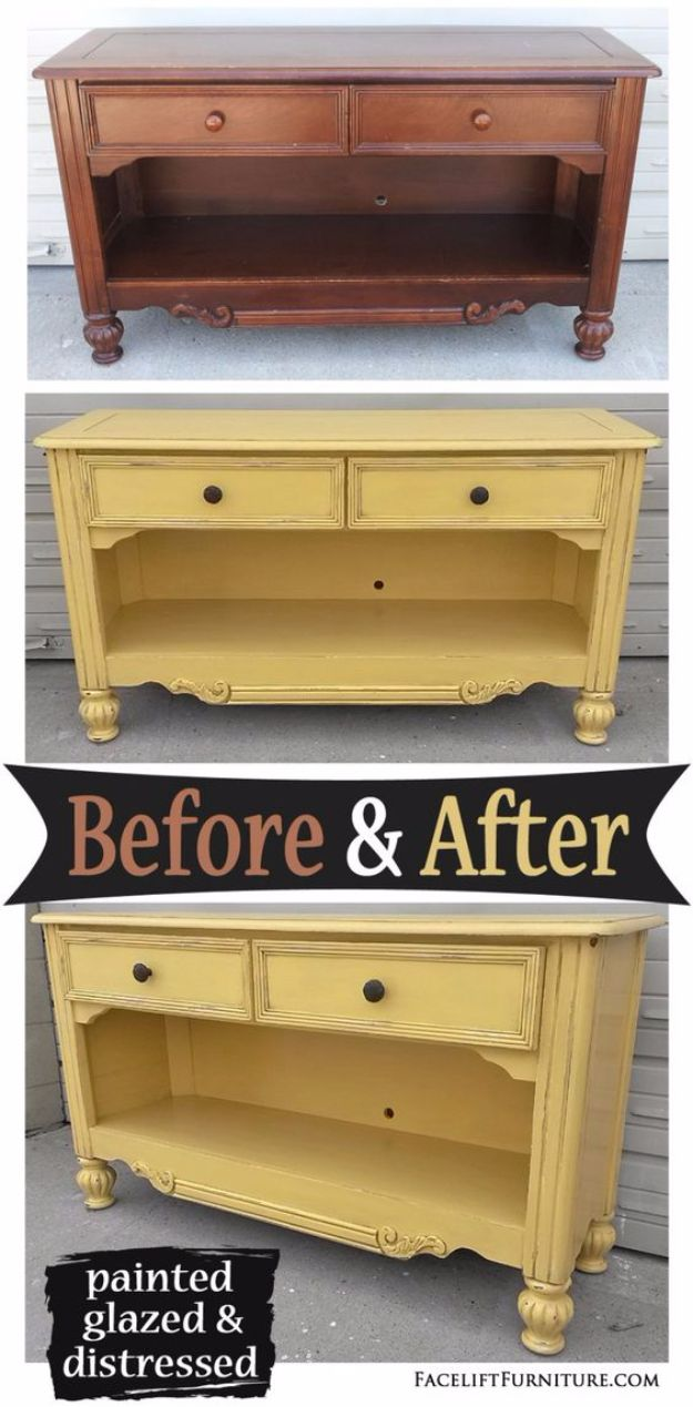 DIY Media Consoles and TV Stands - Media Console in Yellow with Black Glaze - Make a Do It Yourself Entertainment Center With These Easy Step By Step Tutorials - Easy Farmhouse Decor Media Stand for Television - Free Plans and Instructions for Building and Painting Your Own DIY Furniture - IKEA Hacks for TV Stand Idea - Quick and Easy Ways to Decorate Your Home On A Budget http://diyjoy.com/diy-tv-media-consoles