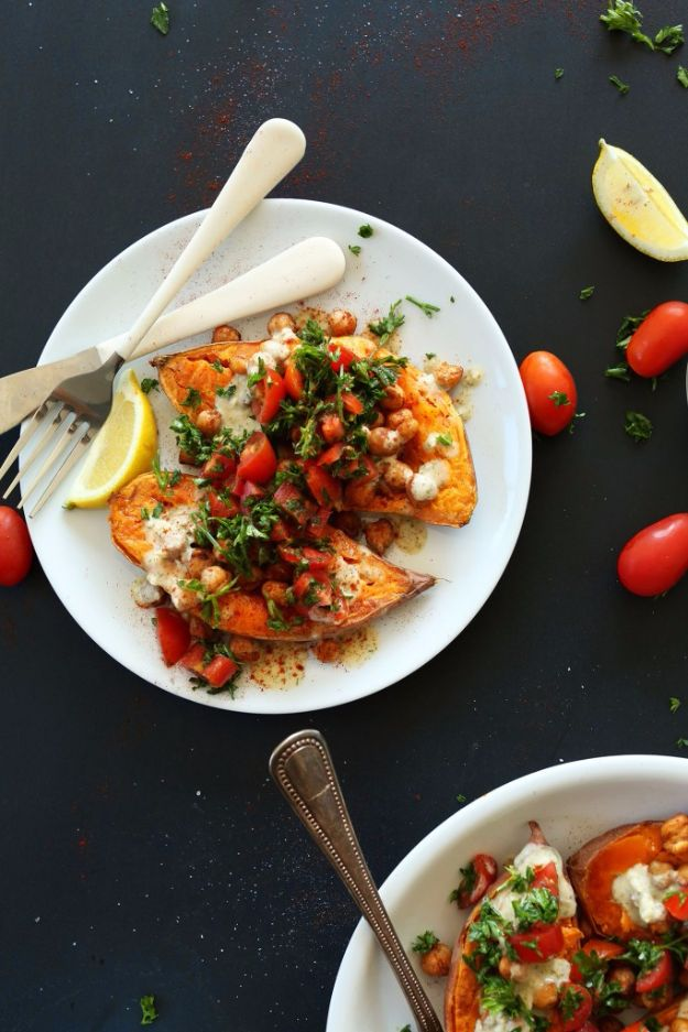 Easy Dinner Ideas for Two - Mediterranean Baked Sweet Potatoes - Quick, Fast and Simple Recipes to Make for Two People - Freeze and Make Ahead Dinner Recipe Tips for Best Weeknight Dinners - Chicken, Fish, Vegetable, No Bake and Vegetarian Options - Crockpot, Microwave, Healthy, Lowfat Options http://diyjoy.com/easy-dinners-for-two