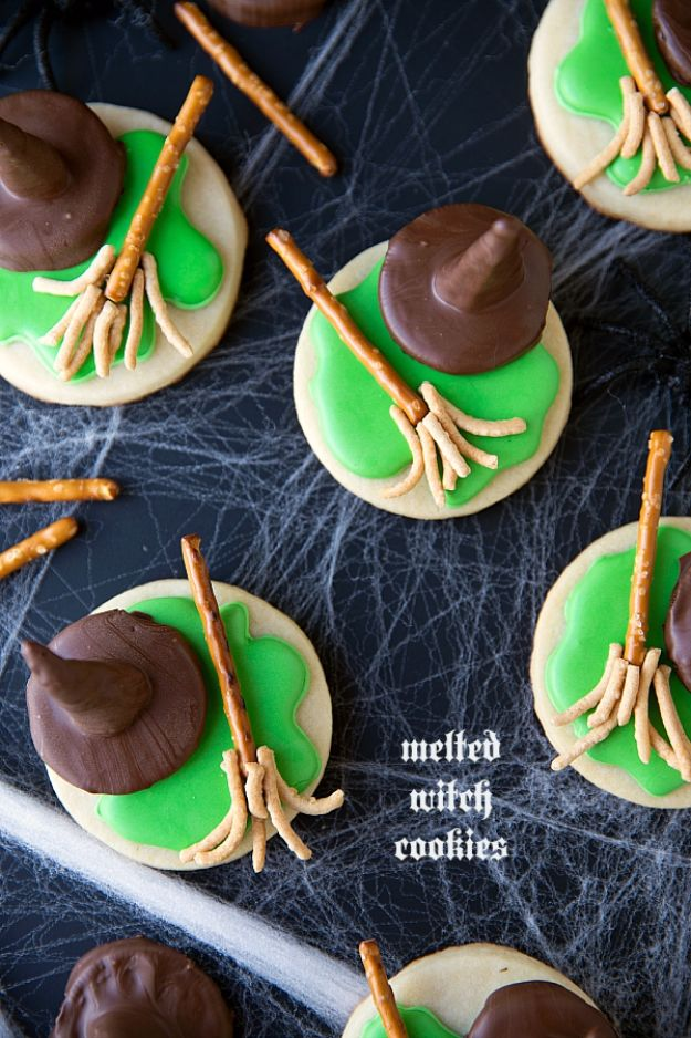 Cute Halloween Cookies - Melted Witch Cookies - Easy Recipes and Cookie Tutorials for Making Quick Halloween Treats - Spooky DIY Decorated Ghosts, Pumpkins, Bats, No Bake, Spiders and Spiderwebs, Tombstones and Healthy Options, Kids and Teens Cookies for School http://diyjoy.com/halloween-cookies-ideas