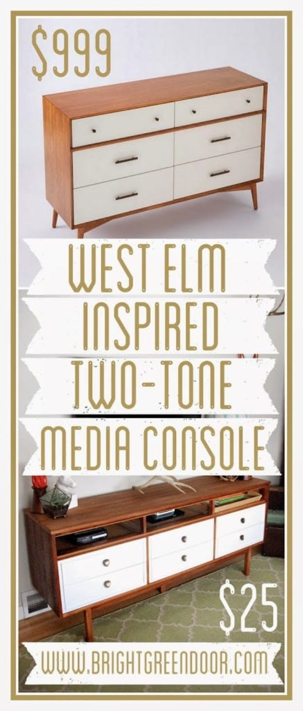 DIY Media Consoles and TV Stands - Mid Century Dresser Turned TV Console - Make a Do It Yourself Entertainment Center With These Easy Step By Step Tutorials - Easy Farmhouse Decor Media Stand for Television - Free Plans and Instructions for Building and Painting Your Own DIY Furniture - IKEA Hacks for TV Stand Idea - Quick and Easy Ways to Decorate Your Home On A Budget http://diyjoy.com/diy-tv-media-consoles
