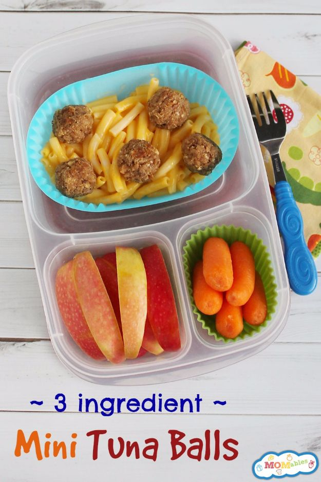 Back to School Lunch Ideas - Mini Tuna Balls - Quick Snacks, Lunches and Homemade Lunchables - Bento Box Style Lunch for People in A Hurry - Fast Lunch Recipes to Pack Ahead - Healthy Ideas for Kids, Teens and Adults