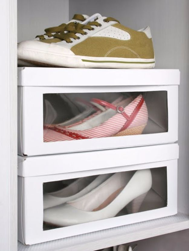 DIY Ideas With Shoe Boxes - Modified Shoe Box - Shoe Box Crafts and Organizers for Storage - How To Make A Shelf, Makeup Organizer, Kids Room Decoration, Storage Ideas Projects - Cheap Home Decor DIY Ideas for Kids, Adults and Teens Rooms http://diyjoy.com/diy-ideas-shoe-boxes