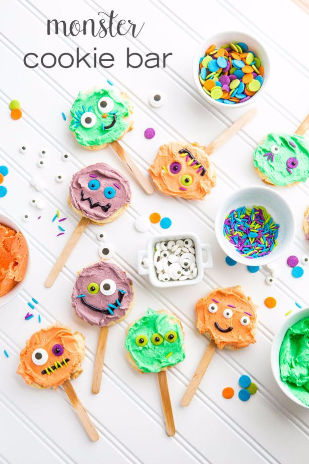 Cute Halloween Cookies - Monster Cookie Bar - Easy Recipes and Cookie Tutorials for Making Quick Halloween Treats - Spooky DIY Decorated Ghosts, Pumpkins, Bats, No Bake, Spiders and Spiderwebs, Tombstones and Healthy Options, Kids and Teens Cookies for School http://diyjoy.com/halloween-cookies-ideas