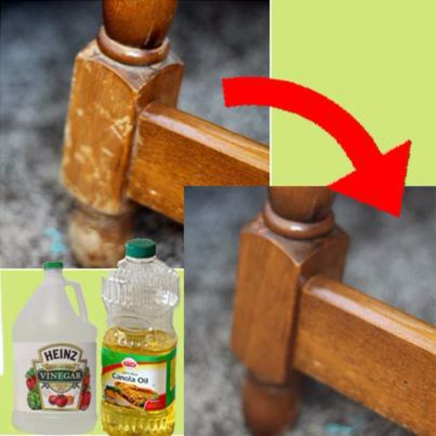 Easy Home Repair Hacks - Naturally Repair Wood With Vinegar and Canola Oil - Quick Ways to Easily Fix Broken Things Around The House - DIY Tricks for Home Improvement and Repairs - Simple Solutions for Kitchen, Bath, Garage and Yard - Caulk, Grout, Wall Repair and Wood Patching and Staining http://diyjoy.com/easy-home-repair-hacks
