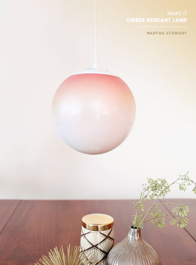 DIY Lighting Ideas and Cool DIY Light Projects for the Home - Ombre Pendant Light - Easy DIY Ideas for Chandeliers, lights, lamps, awesome pendants and creative hanging fixtures, complete with tutorials with instructions. Cheap do it yourself lighting tutorials for indoor - bedroom, living room, bathroom, kitchen DIY Projects and Crafts for Women and Men http://diyjoy.com/diy-indoor-lighting-ideas