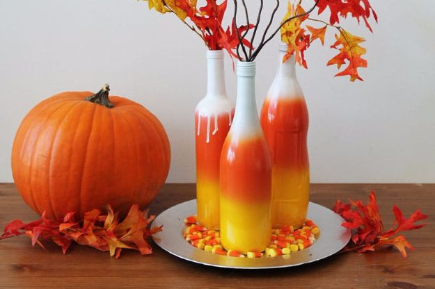 Best Crafts for Fall Decorating - Ombre Wine Bottles - DIY Home Decor, Mason Jar Ideas, Dollar Store Crafts, Rustic Pumpkin Ideas, Wreaths, Candles and Wall Art, Centerpieces, Wedding Decorations, Homemade Gifts, Craft Projects with Leaves, Flowers and Burlap, Painted Art, Candles and Luminaries for Cool Home Decor - Quick and Easy Projects With Step by Step Tutorials and Instructions http://diyjoy.com/best-fall-decorating-ideas
