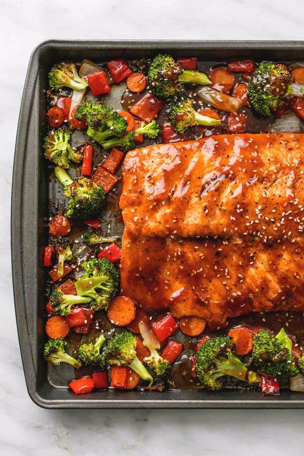 Easy Dinner Ideas for One - One Pan Baked Teriyaki Salmon And Vegetables - Quick, Fast and Simple Recipes to Make for a Single Person - Freeze and Make Ahead Dinner Recipe Tips for Best Weeknight Dinners for Singles - Chicken, Fish, Vegetable, No Bake and Vegetarian Options - Crockpot, Microwave, Healthy, Lowfat Options