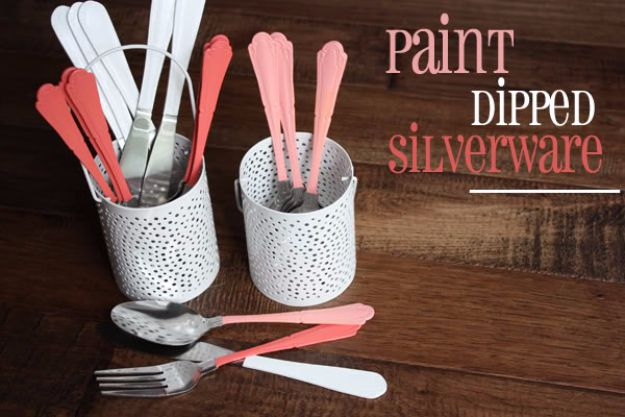 DIY Silverware Upgrades - Paint Dipped Silverware DIY - Creative Ways To Improve Boring Silver Ware and Palce Settings - Paint, Decorate and Update Your Flatware With These Creative Do IT Yourself Tutorials- Forks, Knives and Spoons all Get Dressed Up With These New Looks For Kitchen and Dining Room http://diyjoy.com/diy-silverware-upgrades