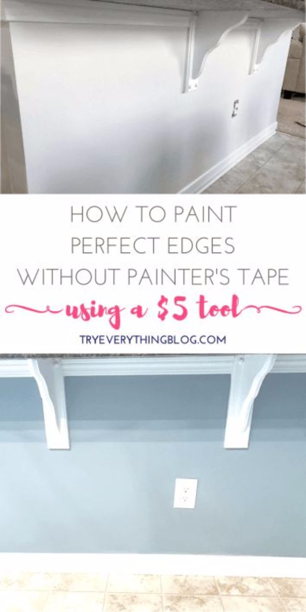 Easy Home Repair Hacks - Paint Perfect Edges Without Painter's Tape Using One Simple Tool - Quick Ways to Easily Fix Broken Things Around The House - DIY Tricks for Home Improvement and Repairs - Simple Solutions for Kitchen, Bath, Garage and Yard - Caulk, Grout, Wall Repair and Wood Patching and Staining http://diyjoy.com/easy-home-repair-hacks