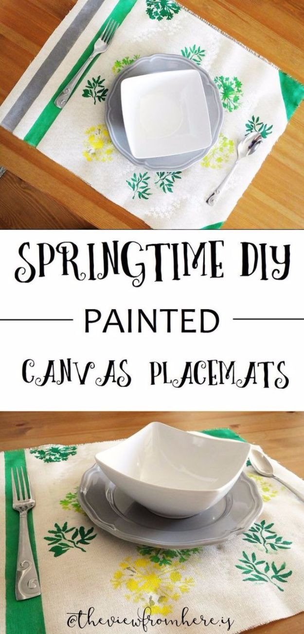 DIY Napkins and Placemats - Painted Canvas Placemats - Easy Sewing Projects, Cute No Sew Ideas and Creative Ways To Make a Napkin or Placemat - Quick DIY Gift Ideas for Friends, Family and Awesome Home Decor - Cheap Do It Yourself Kitchen Decor - Simple Wedding Gifts You Can Make On A Budget