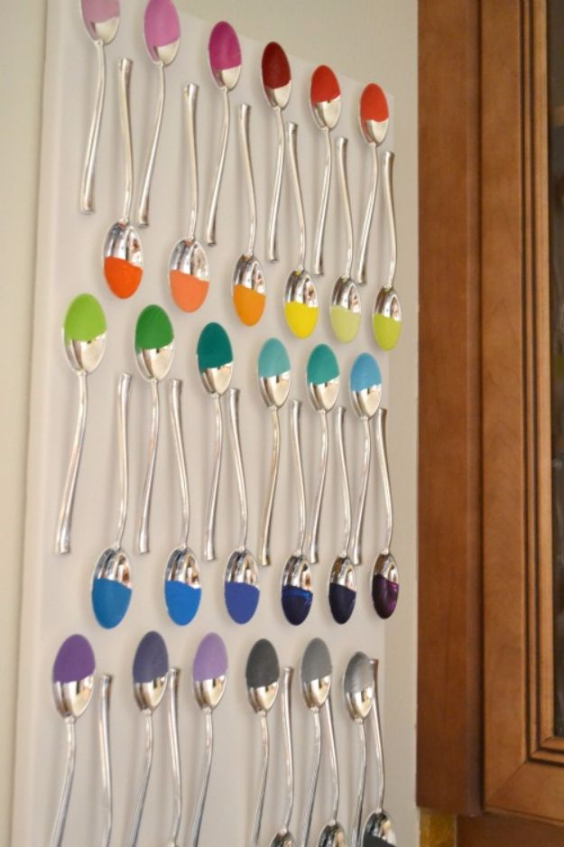 DIY Silverware Upgrades - Painted Spoons Wall Art - Creative Ways To Improve Boring Silver Ware and Palce Settings - Paint, Decorate and Update Your Flatware With These Creative Do IT Yourself Tutorials- Forks, Knives and Spoons all Get Dressed Up With These New Looks For Kitchen and Dining Room