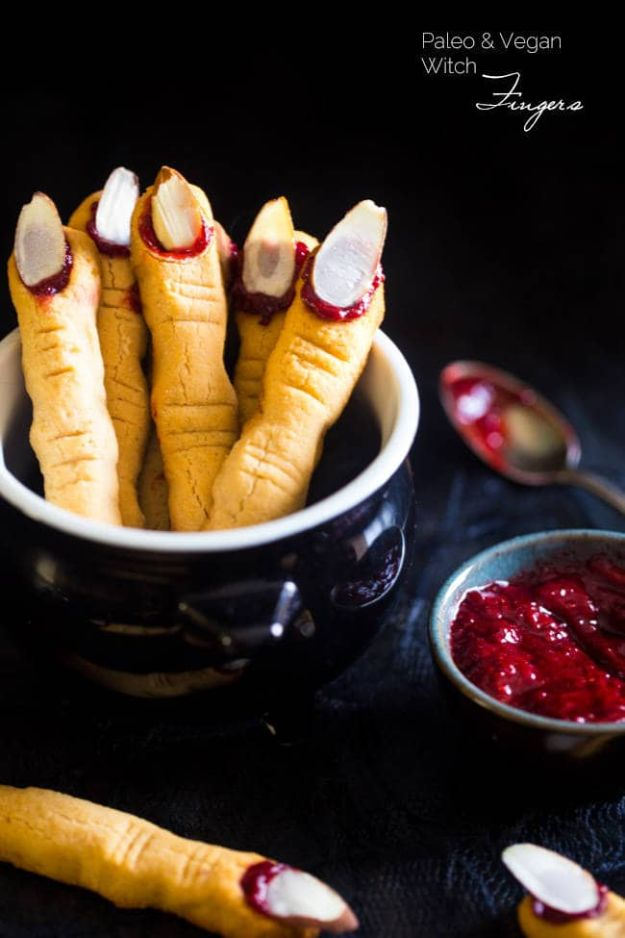 Cute Halloween Cookies - Paleo Witch Finger Cookies - Easy Recipes and Cookie Tutorials for Making Quick Halloween Treats - Spooky DIY Decorated Ghosts, Pumpkins, Bats, No Bake, Spiders and Spiderwebs, Tombstones and Healthy Options, Kids and Teens Cookies for School #halloween #halloweencookies